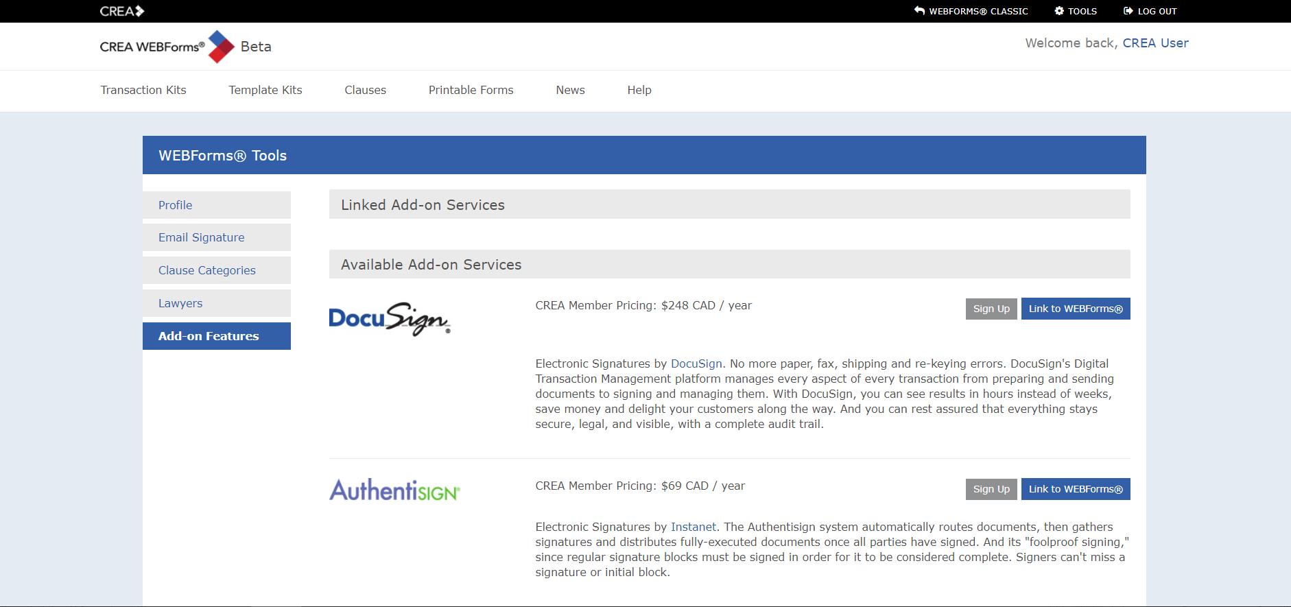 WEBForms interface.