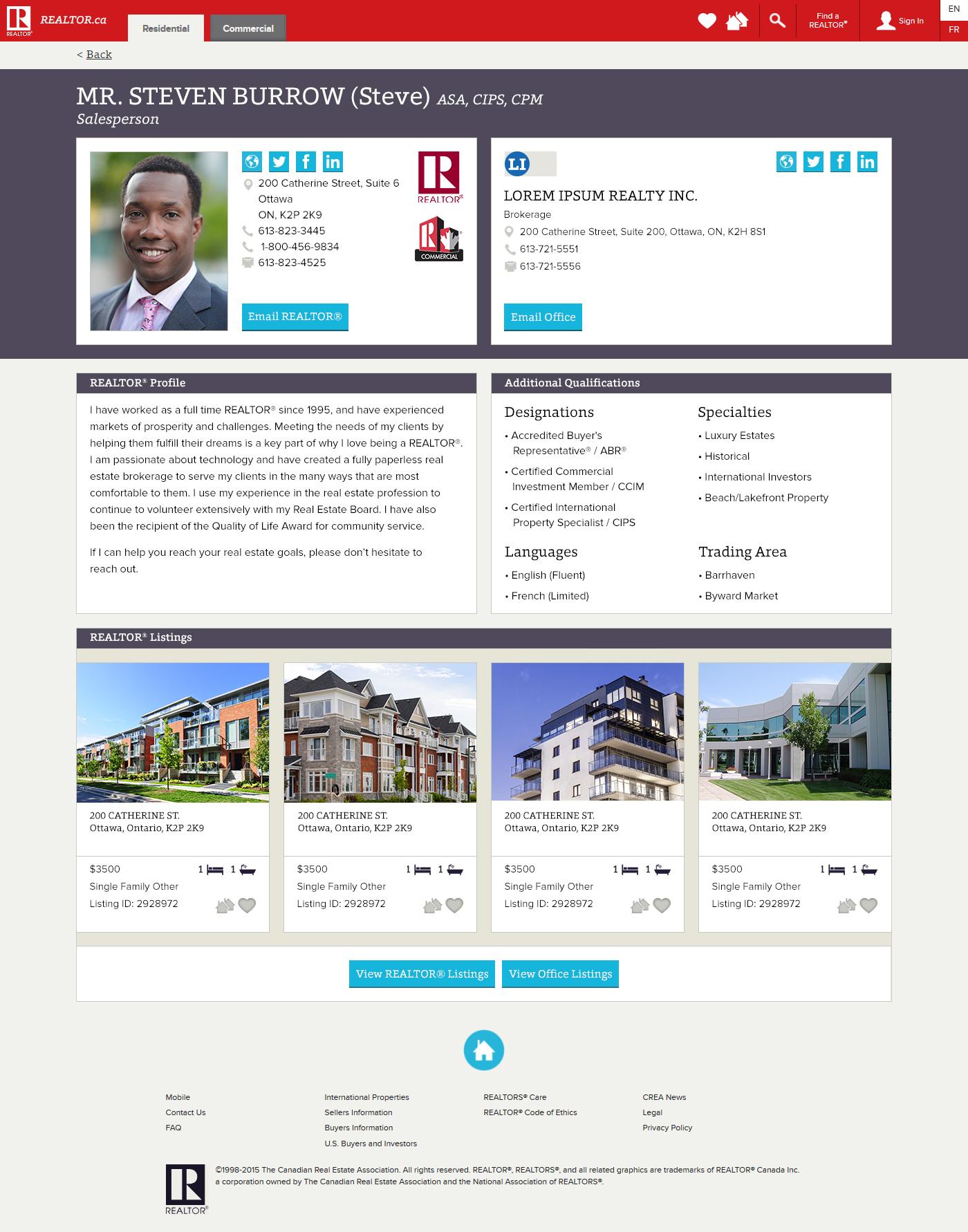 REALTOR.ca profile.