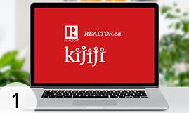 Kijiji logo on laptop.